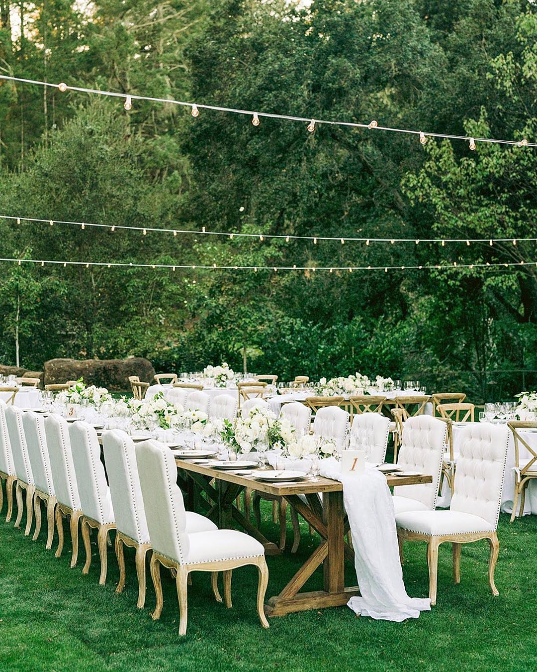 wedding colors All White outdoor backyard wedding