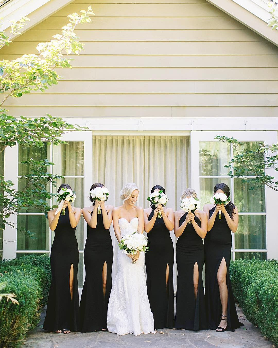 wedding colors Black White Taupe Gold Shimmery Gold bride with bridesmaids in black