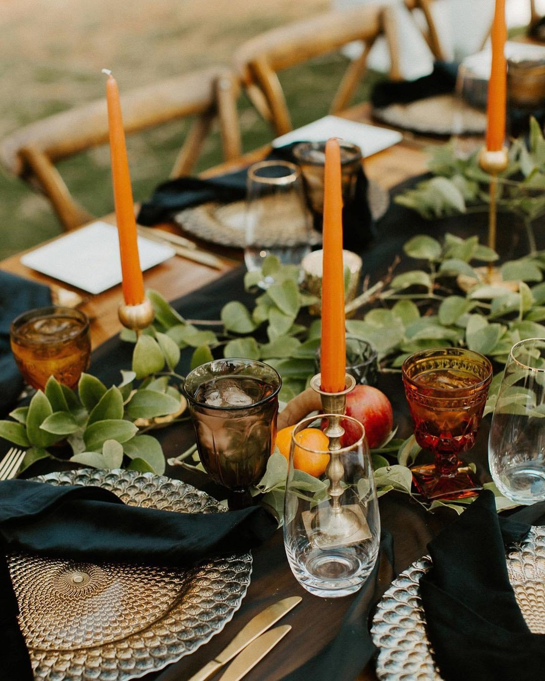 wedding colors Burnt Orange Cream Moss Green eclectic wedding table decor color scheme