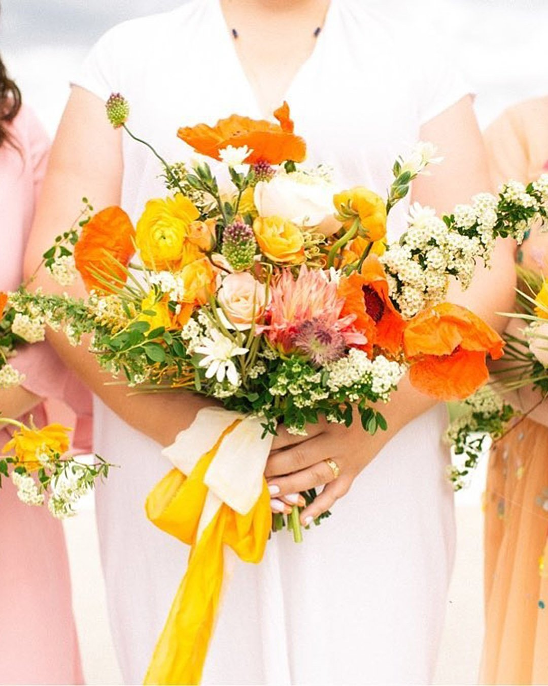wedding colors Burnt Orange Cream Moss Green wedding bouquets