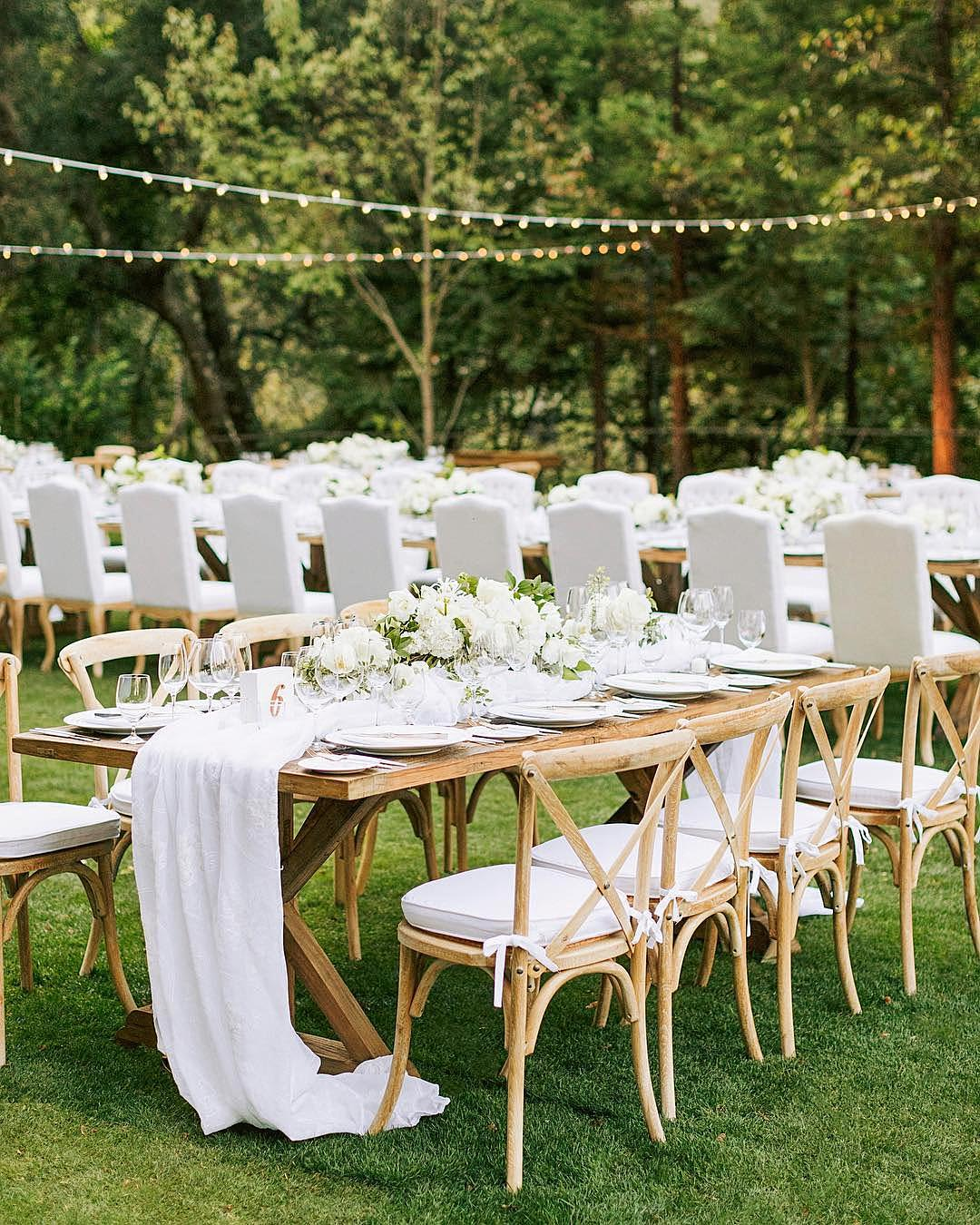 wedding colors Forest Green Classic White Gold backyard wedding reception
