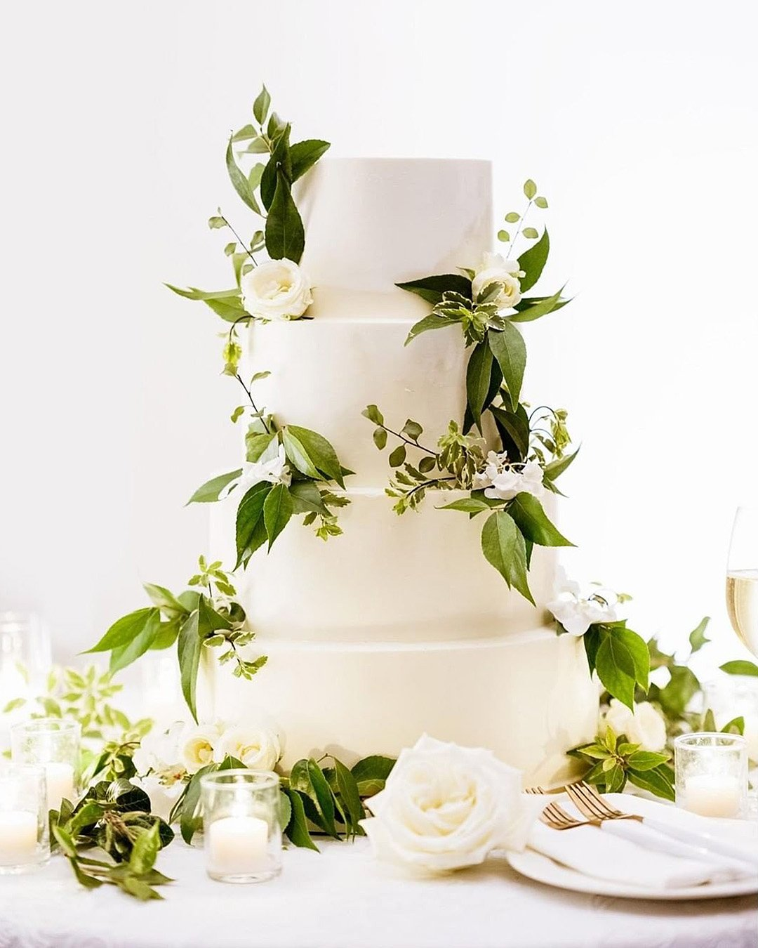 wedding colors Forest Green Classic White Gold wedding cake with greenery