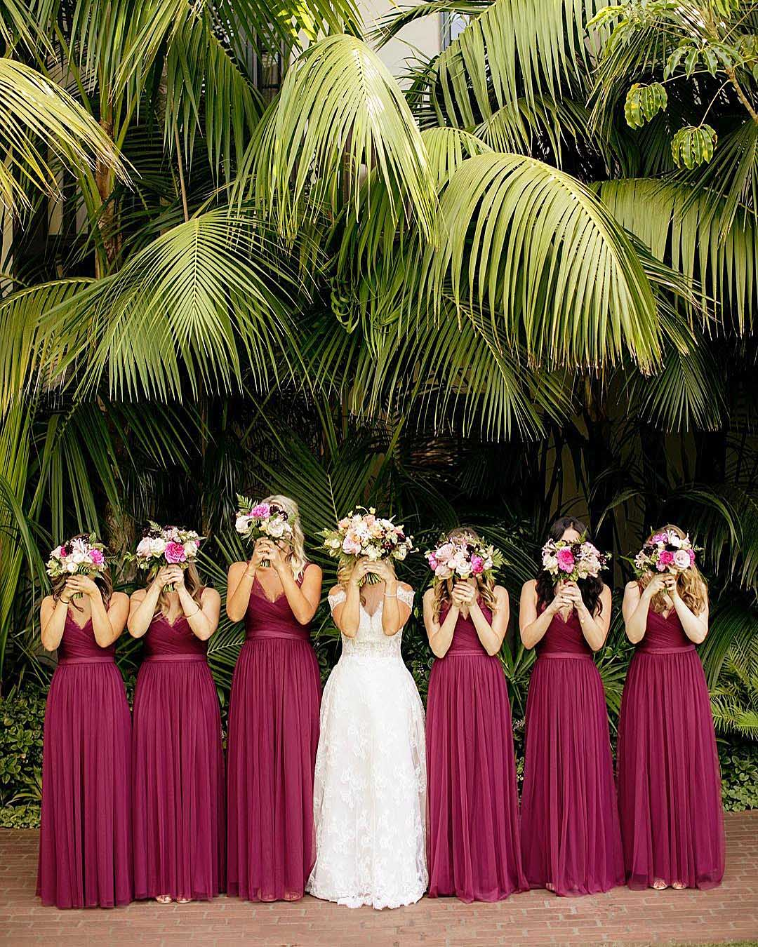 wedding colors Lilac Blush Pink Vintage Yellow bride and bridesmaids covering with bouquets