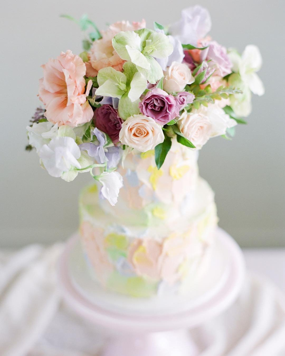 wedding colors color palette Mint Green Peach Pink Watermelon Pink wedding cake with flowers