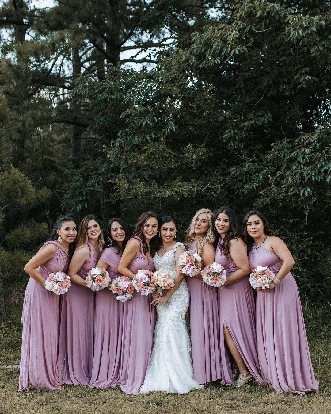 wedding colors Petal Pink Cornflower Blue Mauve bride with bridesmaids
