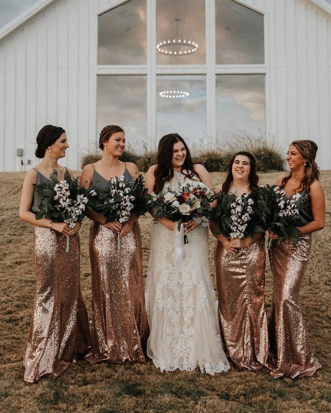 wedding colors Rose Gold Burgundy Oatmeal Beige bride with bridesmaids
