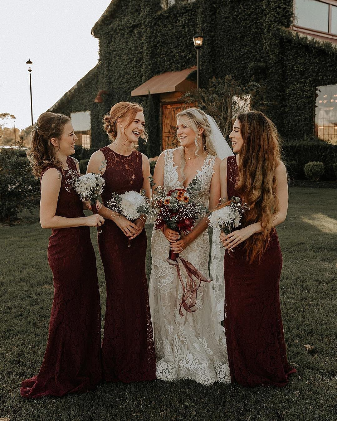 wedding colors Rose Gold Burgundy Oatmeal Beige bride with bridesmaids smiling