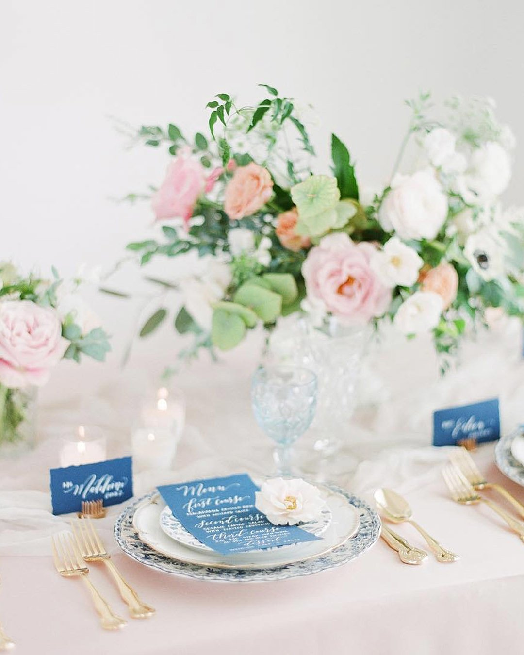 wedding colors Rose Pink Blush Pink Turquoise Sky Blue table decoration table setting