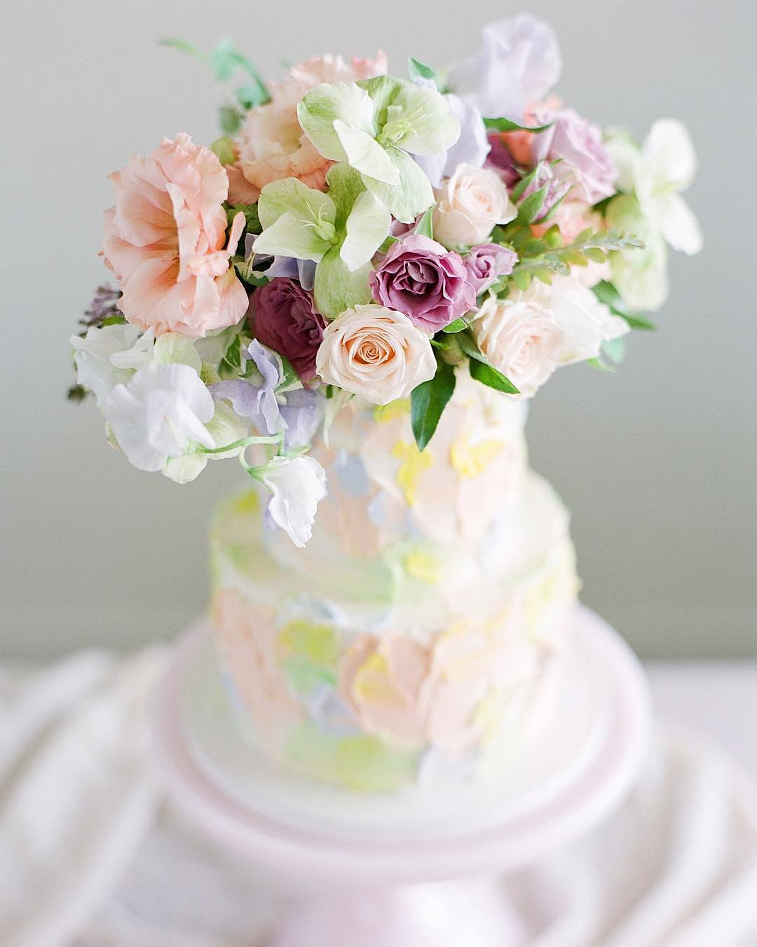 wedding colors Rose Pink Blush Pink Turquoise Sky Blue wedding cake with flowers