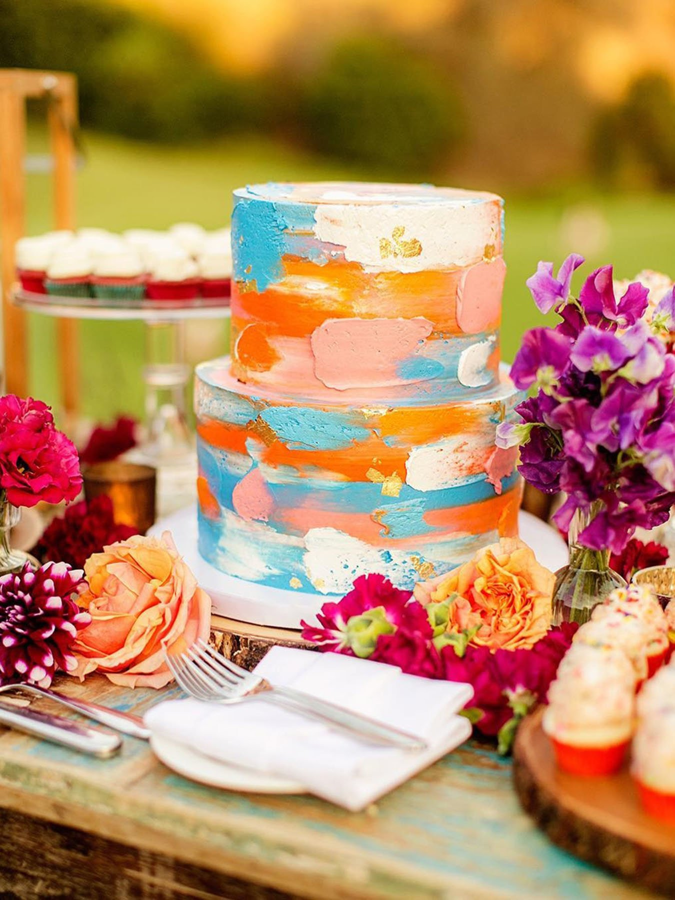 wedding colors colorful wedding cake