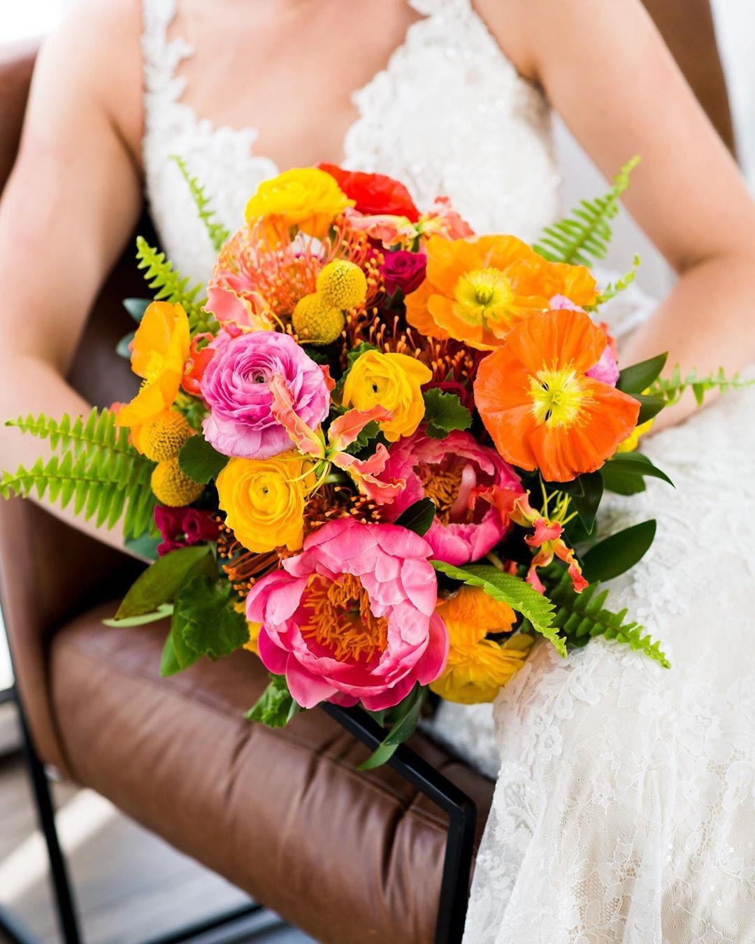 wedding colors yellow orange flowers bouquet