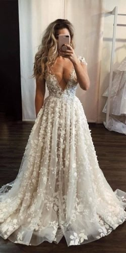 wedding dress designers a line v neckline floral appliques sexy berta