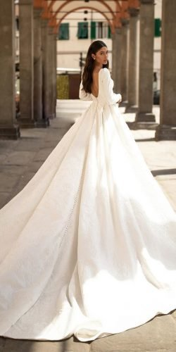 wedding dress designers low back with long sleeves simple millanova