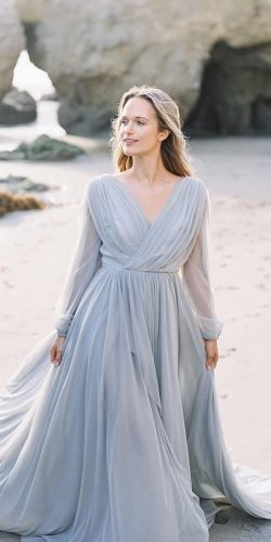 blue wedding dresses a line with long slveeves pale simple hannahtikkanen