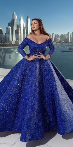 blue wedding dresses ball gown off the shoulder navy sleeves ahmadyounes