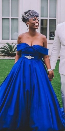 blue wedding dresses navy princes off the shoulder cocomelody