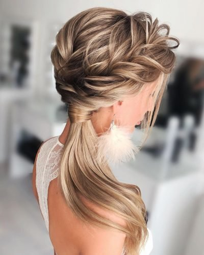 bridesmaid hairstyles side swept ponytail with braid shiyan_marina