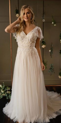 vintage inspired wedding dresses a line with cap sleeves lace top truebride