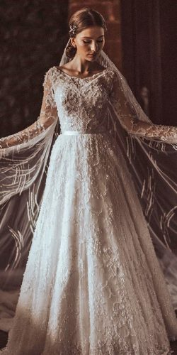 vintage inspired wedding dresses a line with long sleeves lace beaded ramazanguseinov