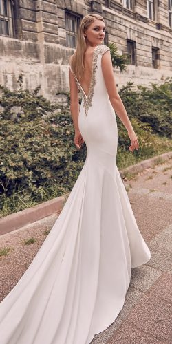 vintage inspired wedding dresses fit and flare v back beaded jeweled train sanpatrick