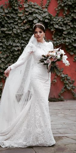 vintage inspired wedding dresses sheath with long sleeves lace outdoor ramazanguseinov
