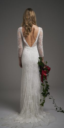 vintage inspired wedding dresses sheath with long sleeves v back lace elizajanehowell