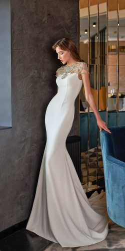 vintage inspired wedding dresses trumpet simple with beaded cape pollardi