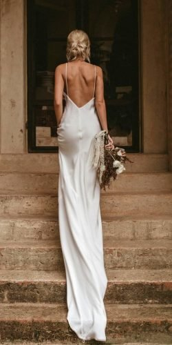 wedding dress designers sheath with spaghetti straps backless simple grace loves lace