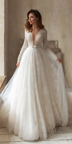 long sleeve wedding dresses ball gown plunging neckline eva lendel
