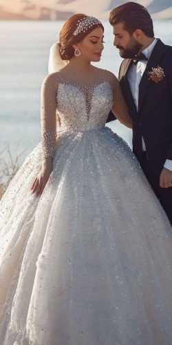 long sleeve wedding dresses ball gown sweetheart sequins rahel photography