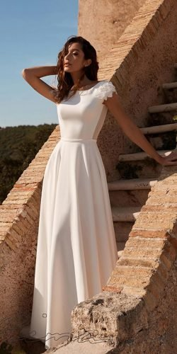 modest wedding dresses a line with cap sleeves simple country liana bride
