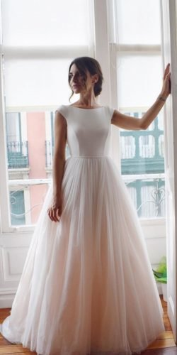 modest wedding dresses ball gown with cap sleeves blush aliciaruedaatelier