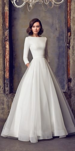 modest wedding dresses with long sleeves simple fall winter mukaella bridal