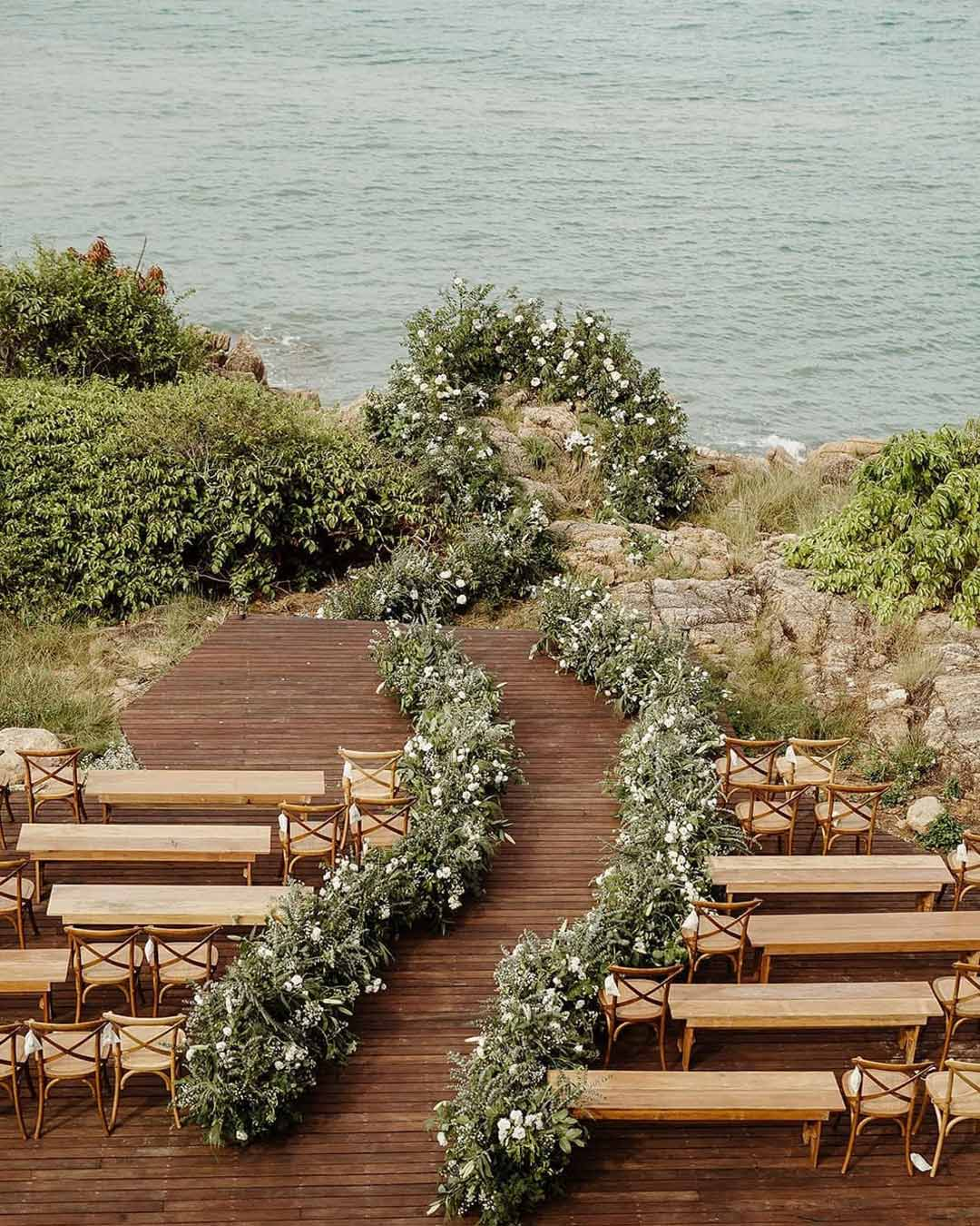 rustic wedding ideas aisle decor greenery flowers