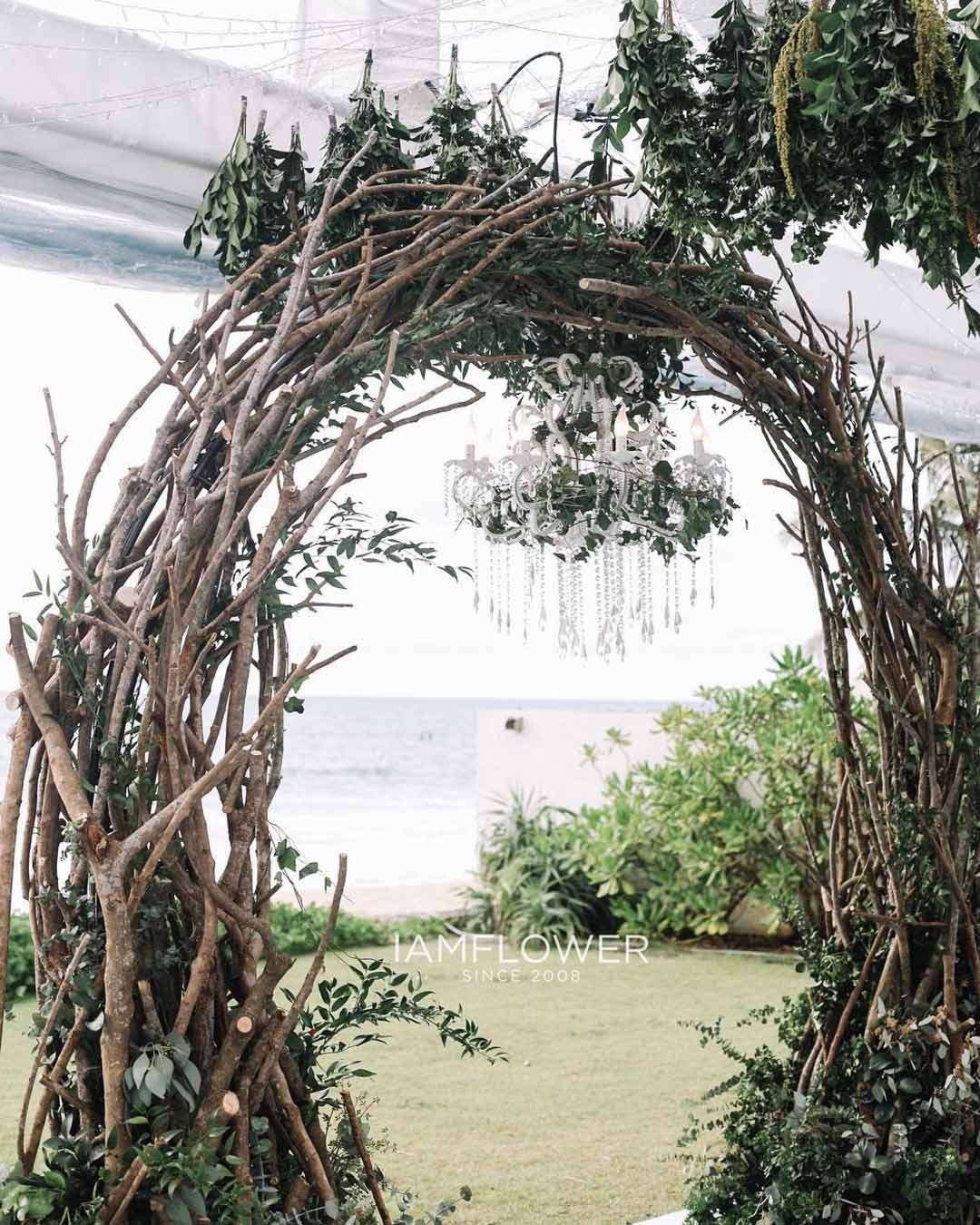rustic wedding ideas birch arch greenery