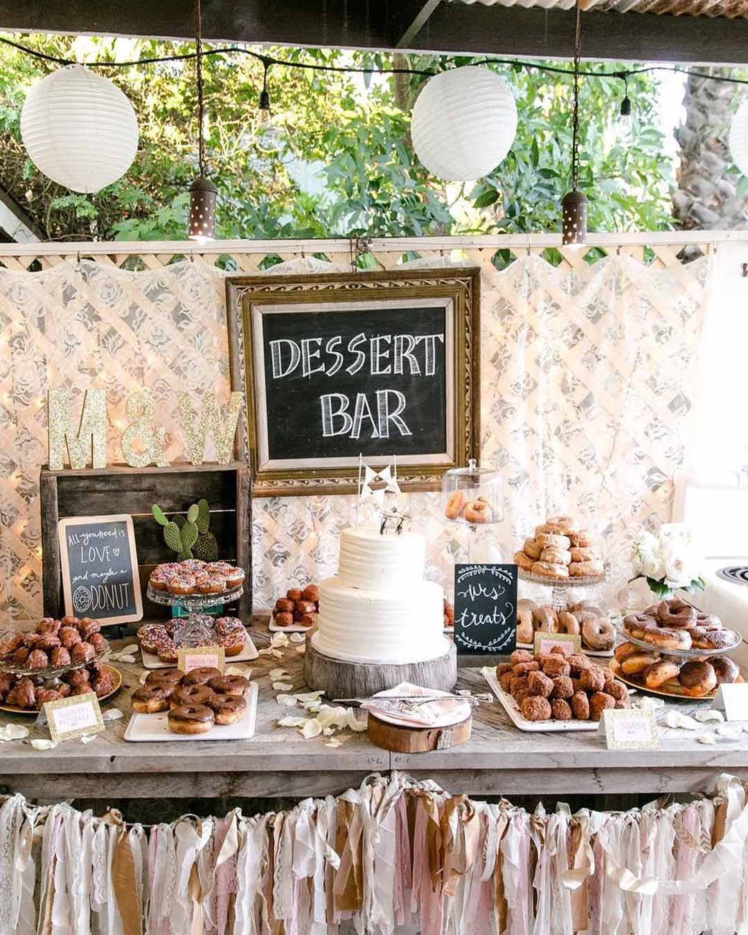 rustic wedding ideas dessert table decor cake