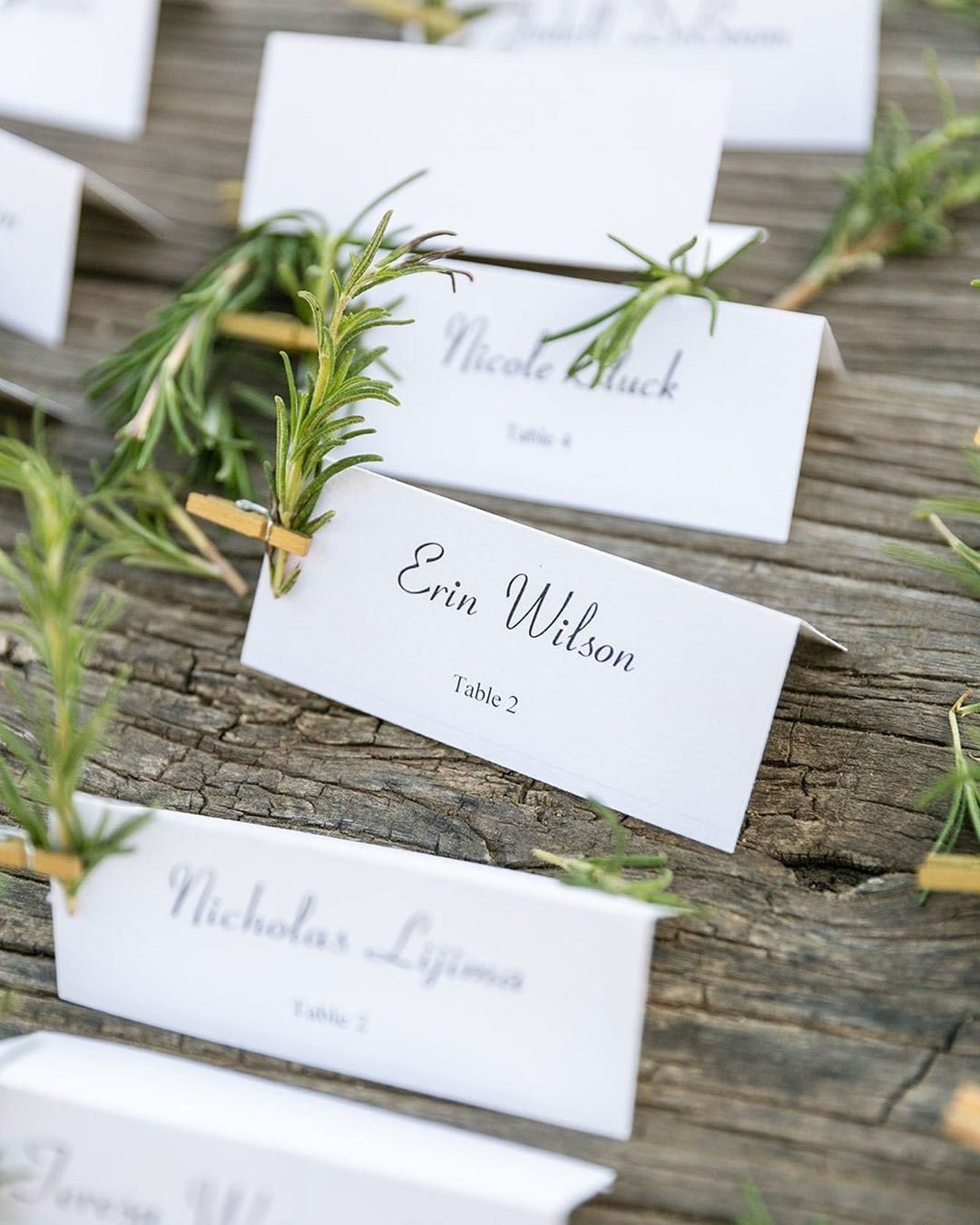 rustic wedding ideas greenery paper table number