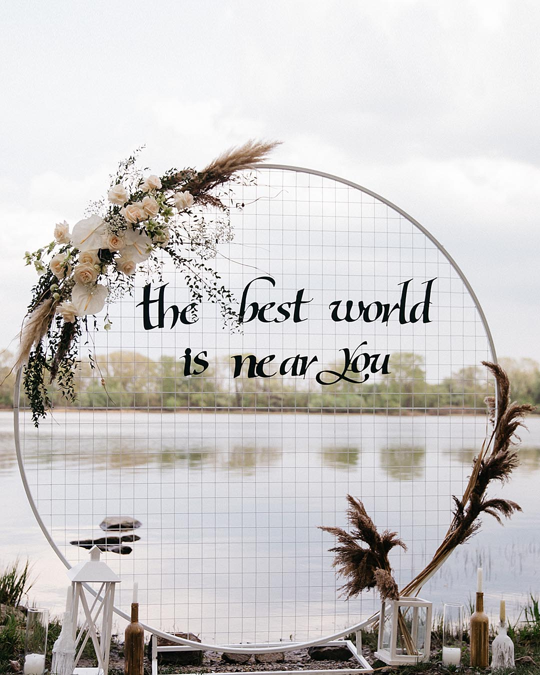 rustic wedding ideas personalized wedding arch with quote