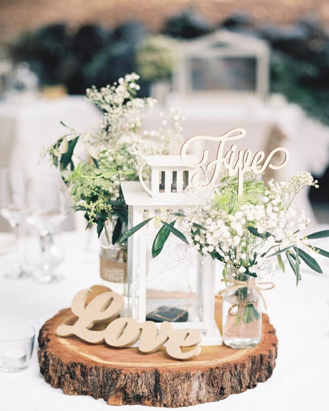 rustic wedding ideas table decor number babies breath