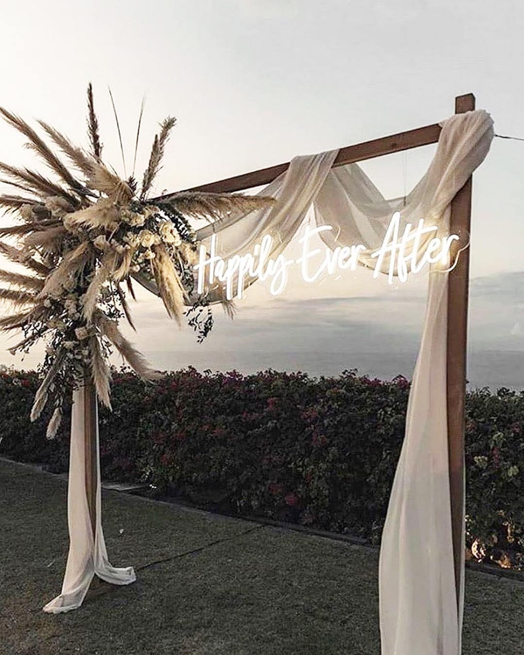 rustic wedding ideas wooden neon sign flowers arch
