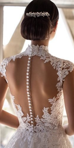 tattoo effect wedding dresses with buttons illusion back lace pronovias