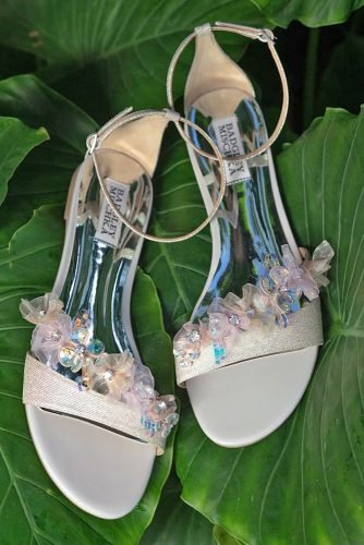 wedding shoes flats with silver flower stones badgleymischka