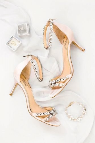 wedding shoes low heel gold with stones annasheffield