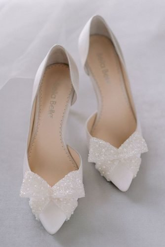 wedding shoes white with pearls bow bellabelleshoes