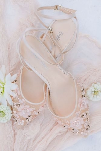 wedding shoes with low heels nude with stones bellabelleshoes