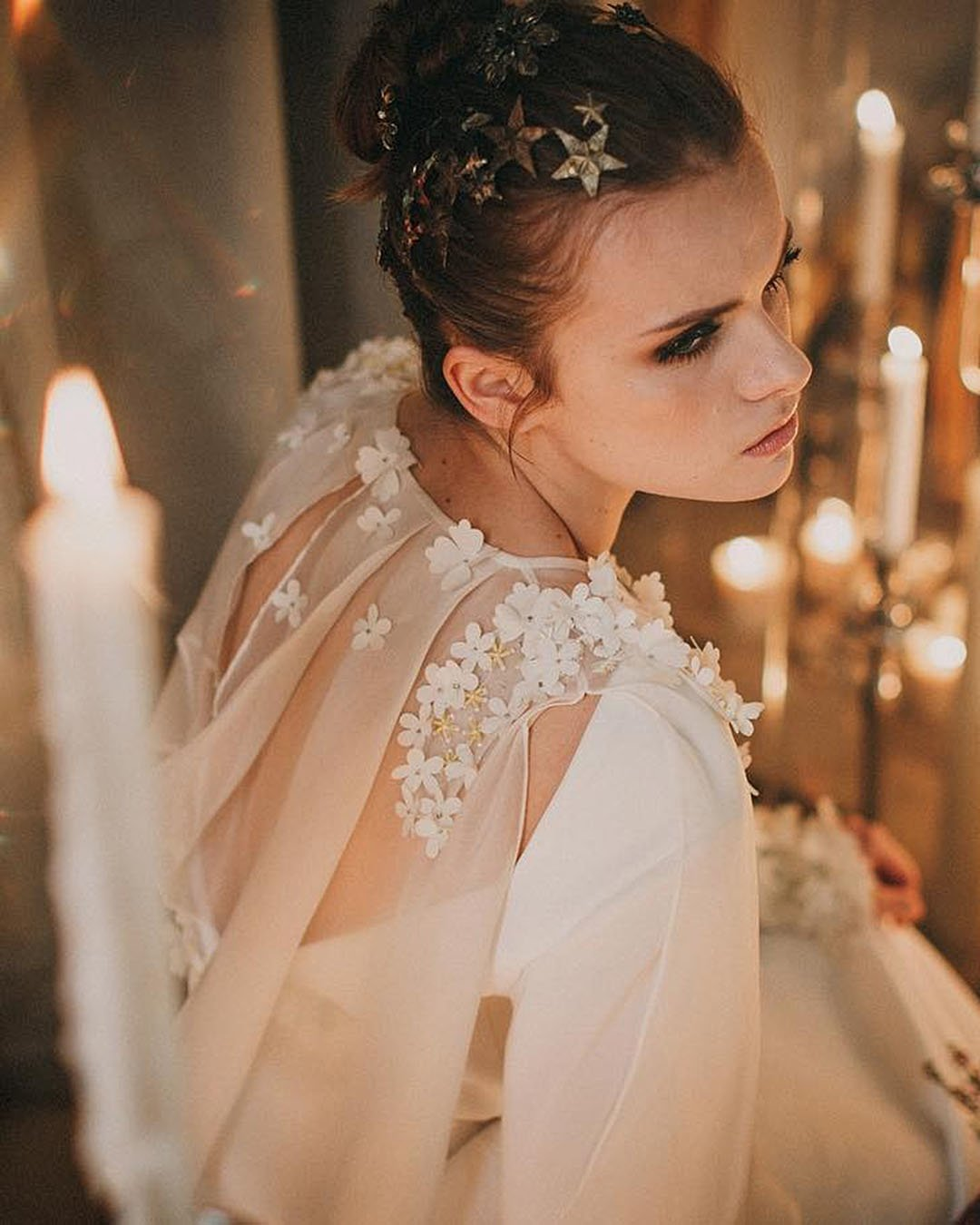 wedding trends bride with star hair decor celestial theme
