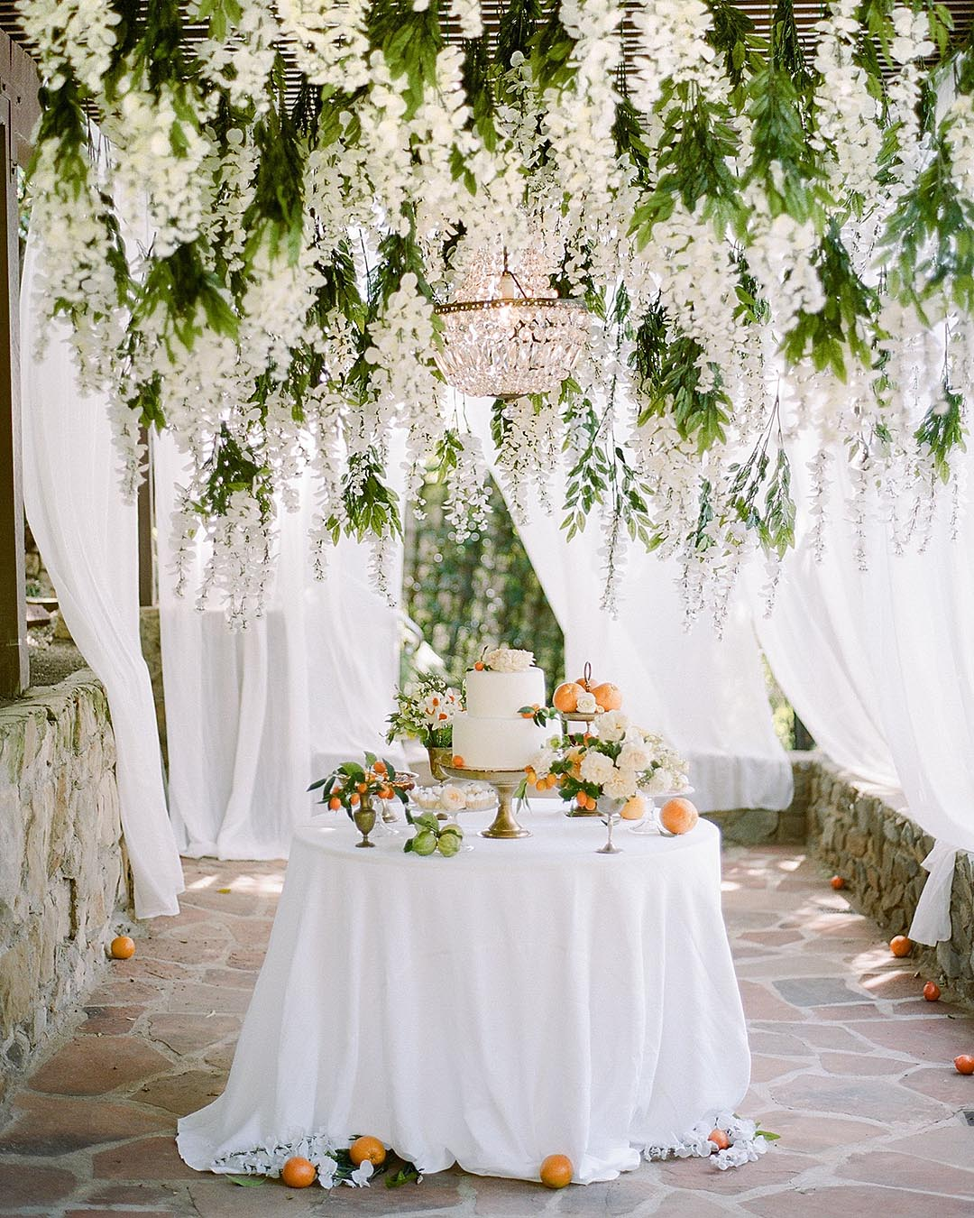 wedding trends hanging flower decor greenery and white decor