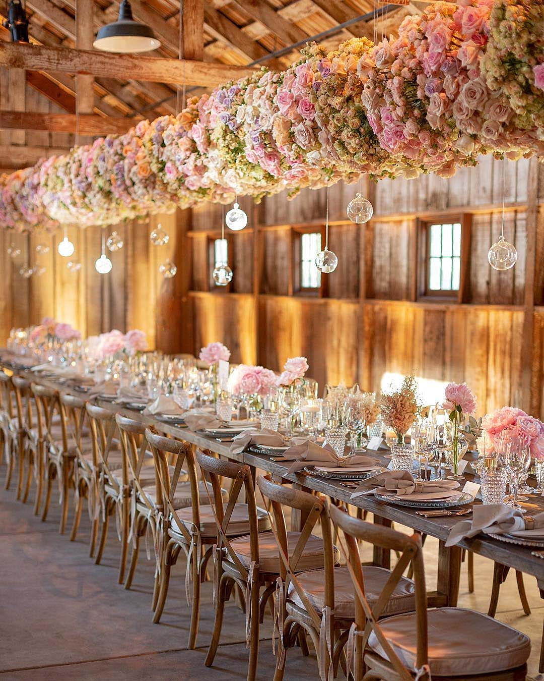 wedding trends hanging flower decor reception