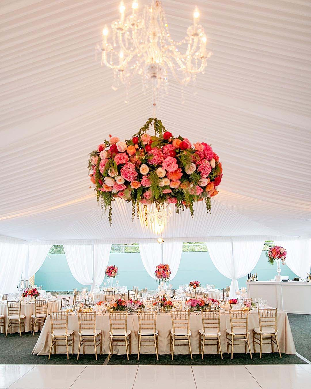wedding trends hanging flowers wedding reception