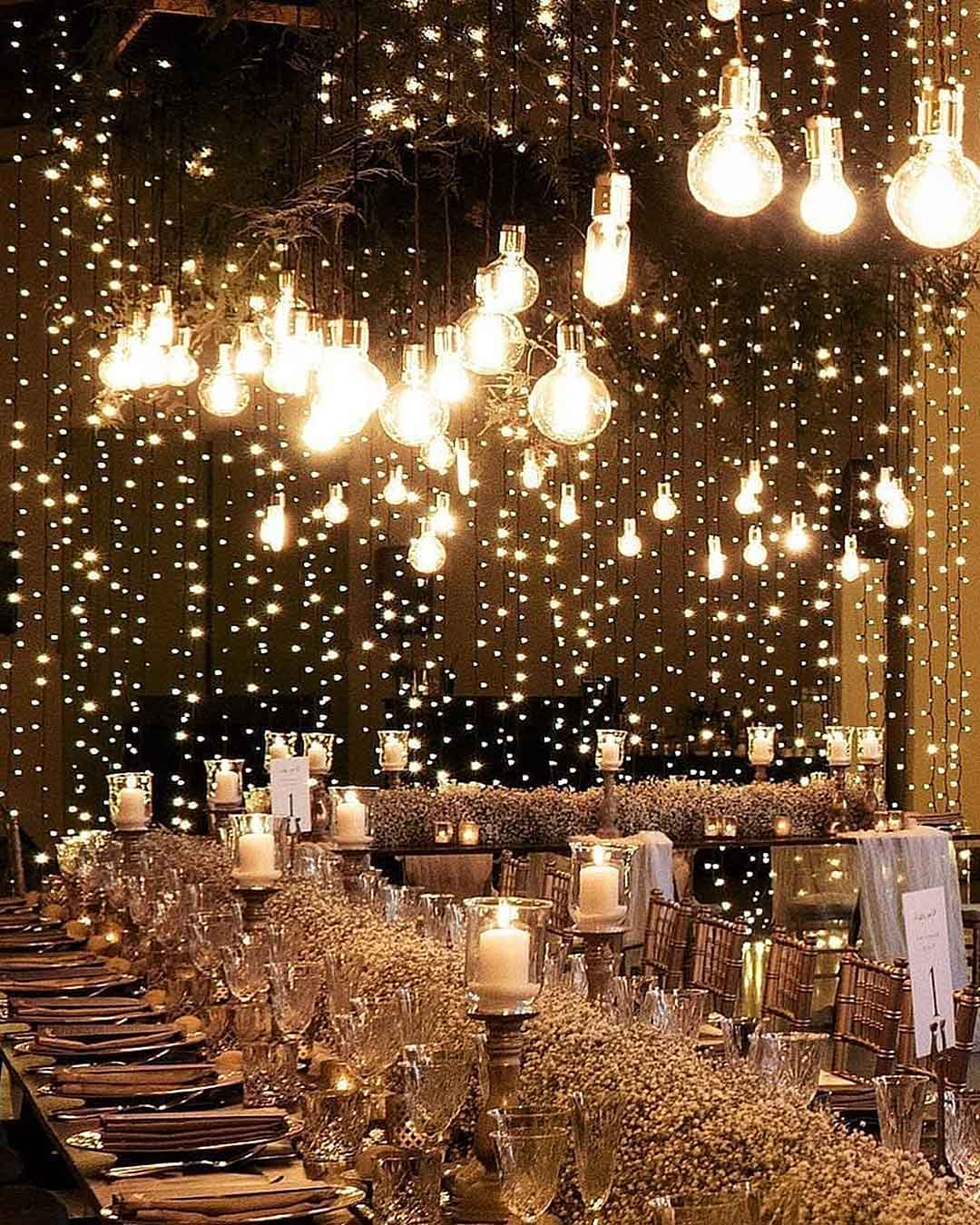 wedding trends lighting decor rain reception